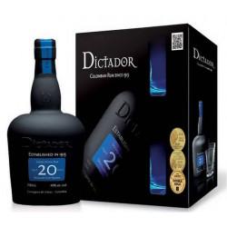 Coffret rhum Dictador 20 ans + 2 verres