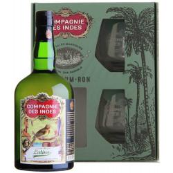 Coffret rhum Compagnie des Indes Latino + 2 verres