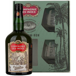 Coffret rhum Compagnie des Indes Caraïbes + 2 verres