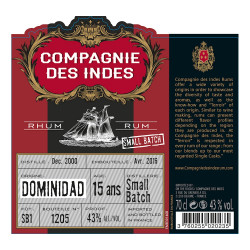 Rhum Compagnie des Indes Dominidad 15 ans
