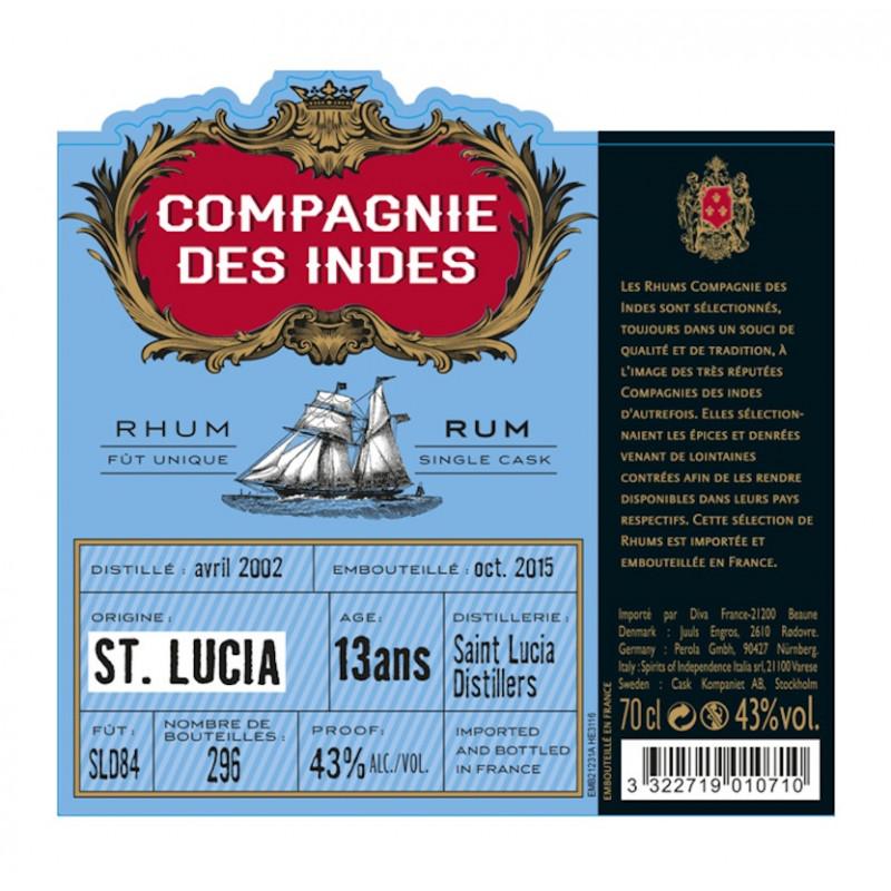 Rhum vieux Compagnie des Indes St Lucia 13 ans single cask