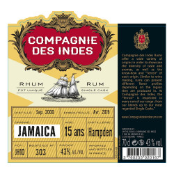 Rhum Compagnie des Indes Jamaïca 15 ans single cask Hampden