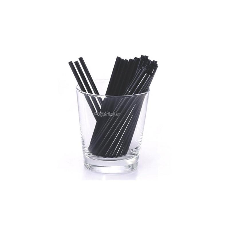 Paille noire courte et flexible par 100
